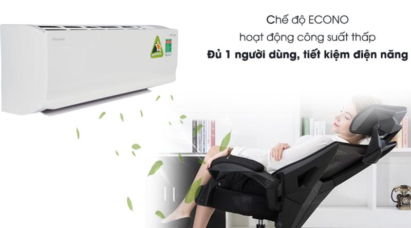 Điều hòa Daikin Inverter 2 chiều 9000 BTU FTHF25RAVMV Chế độ Econo làm mát với công suất thấp, tiết kiệm điện năng