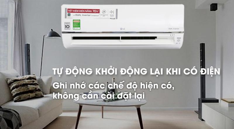 Điều Hoà LG Inverter 1 chiều 18000 BTU V18ENF Tự khởi động lại khi có điện