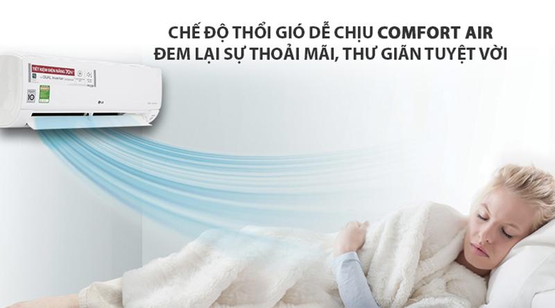 Điều Hoà LG Inverter 1 chiều 18000 BTU V18ENF Máy lạnh phù hợp cho gia đình có người lớn tuổi và trẻ em nhờ tính năng thổi gió dễ chịu