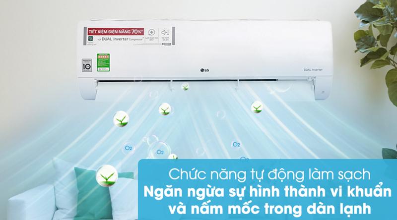 Điều Hoà LG Inverter 1 chiều 18000 BTU V18ENF Ngăn ngừa vi khuẩn, nấm mốc trong dàn lạnh với chức năng tự động làm sạch