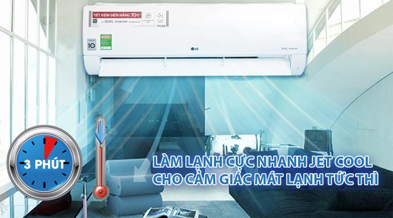Điều Hoà LG Inverter 1 chiều 18000 BTU V18ENF Chế độ Jet Cool cho bạn nhanh chóng được tận hưởng bầu không khí mát lạnh chỉ trong tích tắc