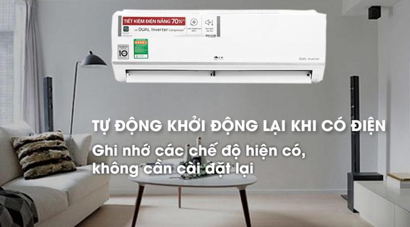 Điều Hoà LG Inverter 1 chiều 9000 BTU V10ENW Tự khởi động lại khi có điện
