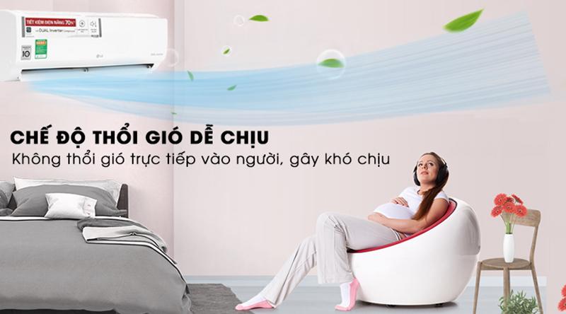 Điều Hoà LG Inverter 1 chiều 9000 BTU V10ENW Chế độ thổi gió dễ chịu thích hợp với người lớn lớn và trẻ nhỏ