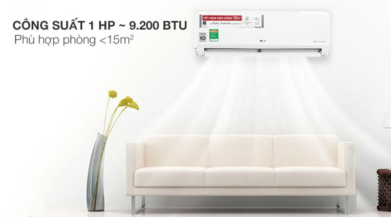 Điều Hoà LG Inverter 1 chiều 9000 BTU V10ENW Thiết kế đơn giản, dễ dàng kết hợp với công suất làm lạnh 9200 BTU