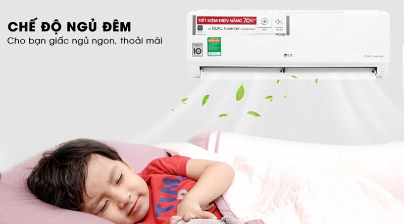 Điều Hoà LG Inverter 1 chiều 9000 BTU V10ENW Chế độ ngủ đêm cho bạn giấc ngủ ngon và thoải mái