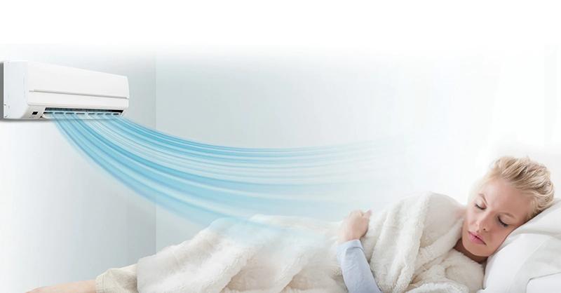 Điều Hoà LG Inverter 2 chiều 18000 BTU B18END Hướng gió dễ chịu Chế độ hướng gió dễ chịu giúp bạn tránh khỏi luồng gió thổi trực tiếp vào cơ thể, đem đến cho bạn giấc ngủ thư giãn hơn