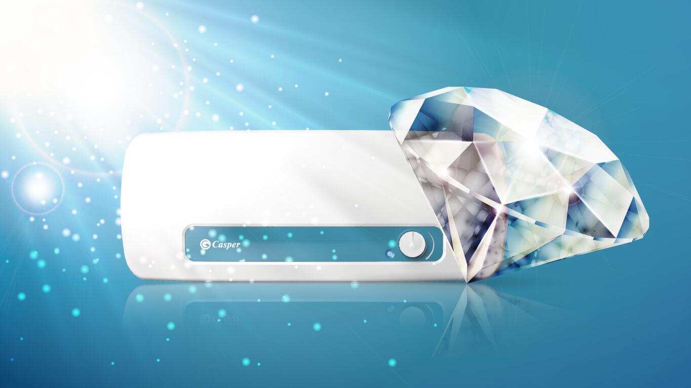 Lớp men tráng kim cương của bình nóng lạnh Casper