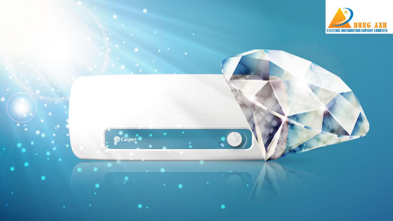 Bình nóng lạnh Casper được trang bị bình chứa với lớp tráng men kim cương