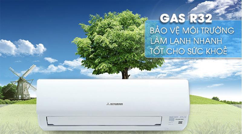 Điều hoà Mitshubishi Inverter 1 chiều 9000 BTU SRK/SRC10YXP-W5 Sử dụng gas R32