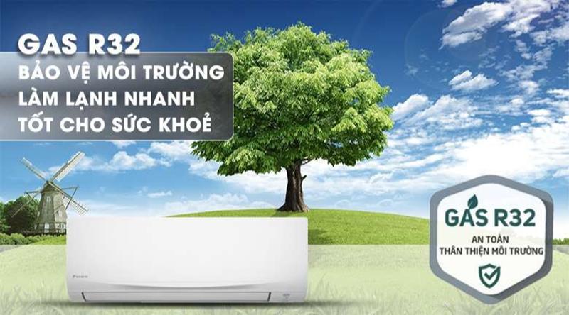 Điều hòa Daikin 1 chiều 9000 BTU FTF25UV1V Bảo vệ môi trường với gas R-32
