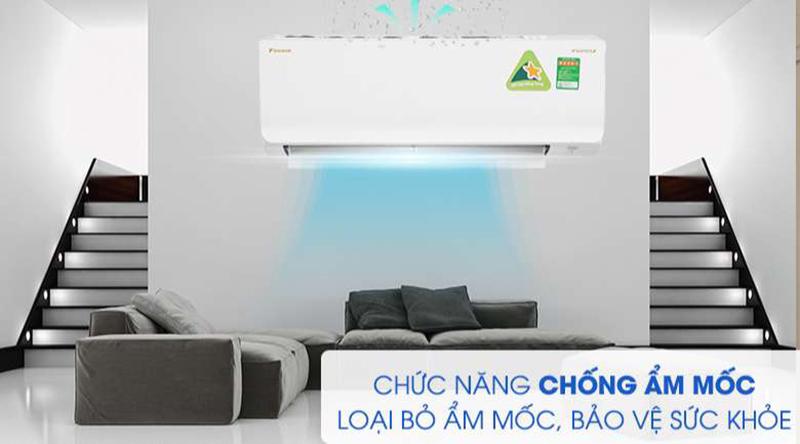 Điều hòa Daikin Inverter 1 chiều 12000 BTU FTKA35UAVMV Bảo vệ sức khoẻ với chức năng chống ẩm mốc