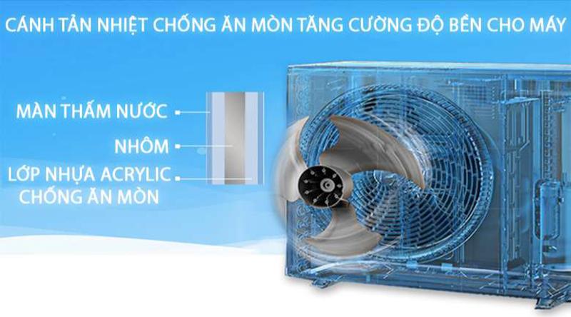 Điều hòa Daikin Inverter 1 chiều 12000 BTU FTKA35UAVMV Điều hòa có độ bền cao với cánh tản nhiệt dàn nóng được phủ 2 lớp chống ăn mòn, bo mạch có chức năng bảo vệ điện áp cao & thấp
