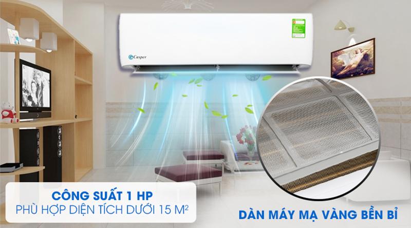Điều Hoà Casper 1 chiều 9000 BTU LC-09TL32 Thiết kế tinh tế cùng với công suất 1 HP làm lạnh với phòng dưới 15 m2