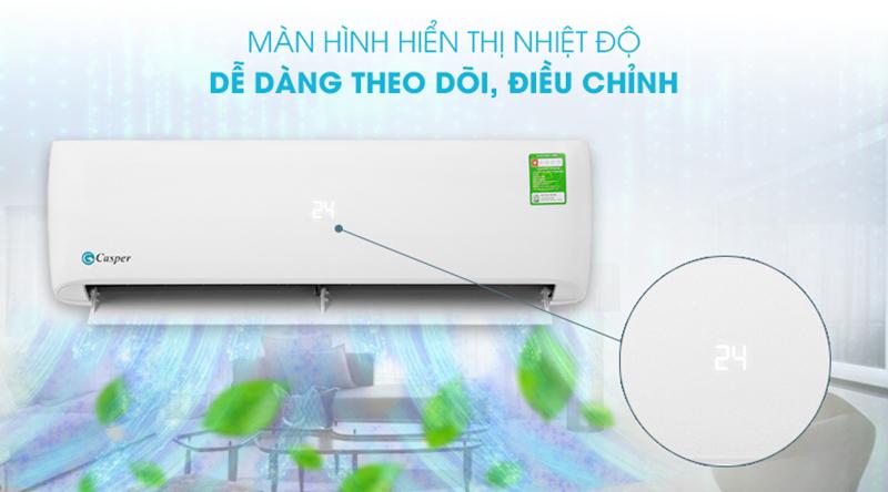 Điều Hoà Casper 1 chiều 9000 BTU LC-09TL32 Theo dõi, điều chỉnh nhiệt độ dễ dàng với màn hình LED