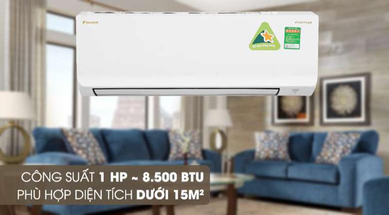 Điều hòa Daikin Inverter 1 chiều 9000 BTU FTKA25UAVMV Công suất 8500 BTU phù hợp với không gian nhỏ dưới 15 m2