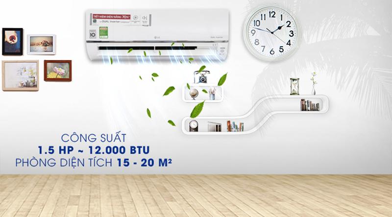 Điều Hoà LG Inverter 1 chiều 12000 BTU V13API phù hợp cho những căn phòng có diện tích 15-20 m2