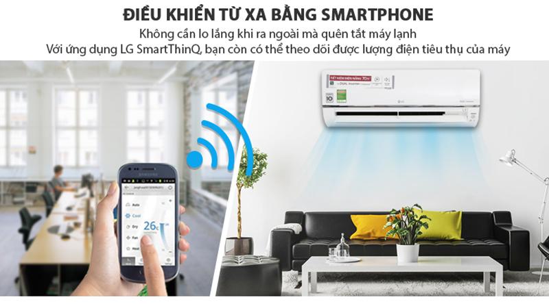 Điều Hoà LG Inverter 1 chiều 9000 BTU V10API Điều khiển từ xa bằng smartphone thông qua ứng dụng Lg SmartThinQ tiện lợi, dễ dàng