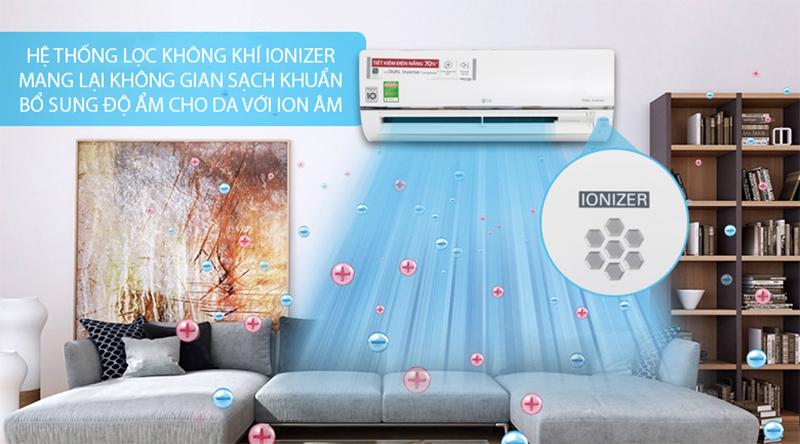 Điều Hoà LG Inverter 1 chiều 9000 BTU V10API Hệ thống lọc khí Ionizer