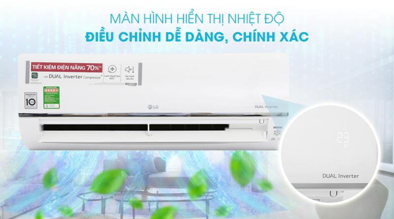 Điều Hoà LG Inverter 1 chiều 9000 BTU V10API Màn hình hiển thị nhiệt độ giúp quan sát, điều chỉnh nhiệt độ dễ dàng