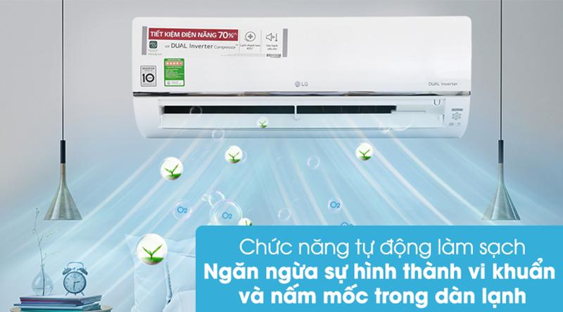 Điều Hoà LG Inverter 1 chiều 9000 BTU V10API Ngăn ngừa hình thành vi khuẩn, nấm mốc trong dàn lạnh nhờ chế độ tự động làm sạch
