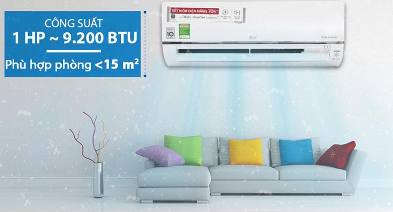 Điều Hoà LG Inverter 1 chiều 9000 BTU V10API Thiết kế gọn gàng, phù hợp cho phòng có diện tích nhỏ