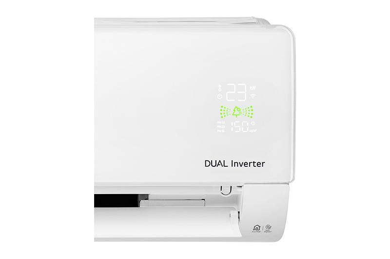 Điều Hoà LG Inverter 2 chiều 12000 BTU B13APF Màn hình hiển thị nhiệt độ và chất lượng không khí trên dàn lạnh