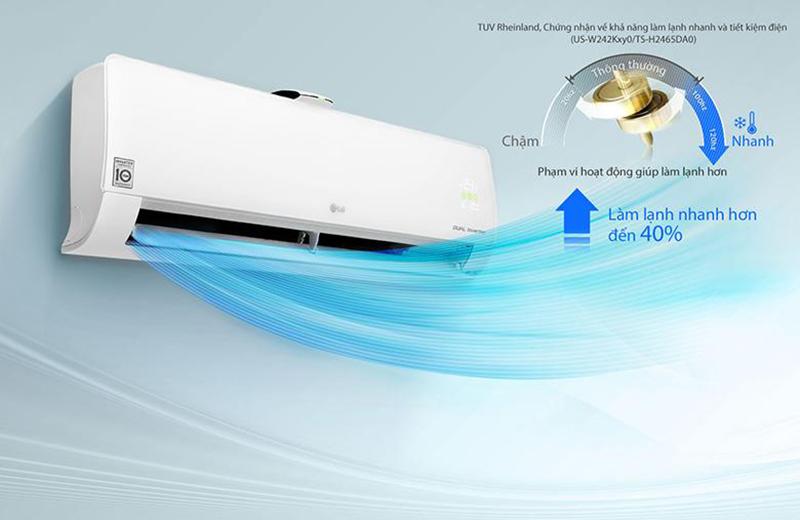 Điều Hoà LG Inverter 2 chiều 9000 BTU B10APF Chế độ làm lạnh nhanh Jet Cool cho luồng khí lạnh lan tỏa khắp phòng