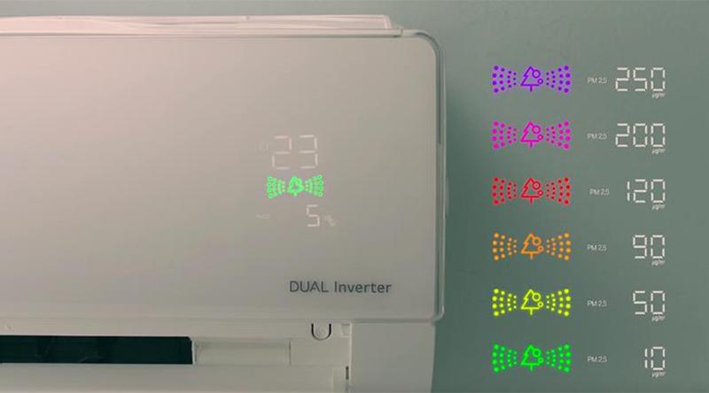 Điều Hoà LG Inverter 2 chiều 9000 BTU B10APF Màn hình hiển thị chất lượng không khí rõ ràng