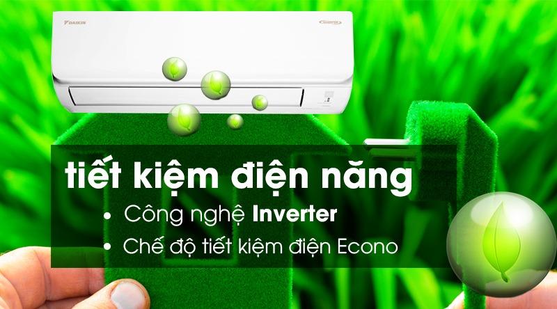 Điều hòa Daikin Inverter 1 chiều 17100 BTU FTKA50UAVMV Sử dụng điện hiệu quả nhờ công nghệ Inverter