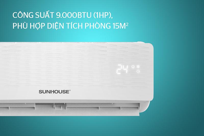 Điều hòa Sunhouse 1 chiều 9000 BTU SHR-AW09C110 Công suất 9000BTU (1HP), phù hợp cho phòng diện tích 15m2