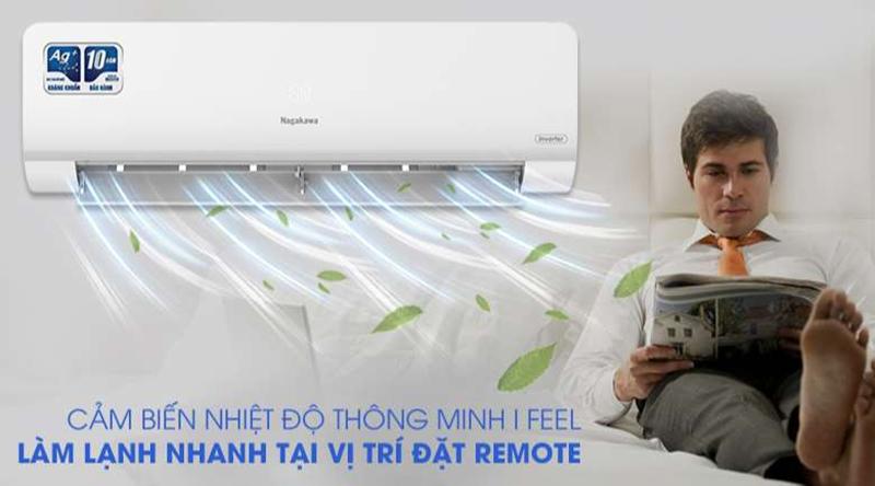 Điều hòa Nagakawa Inverter 1 chiều 24000 BTU NIS-C24R2H10 Cảm biến nhiệt độ thông minh trên remote I Feel