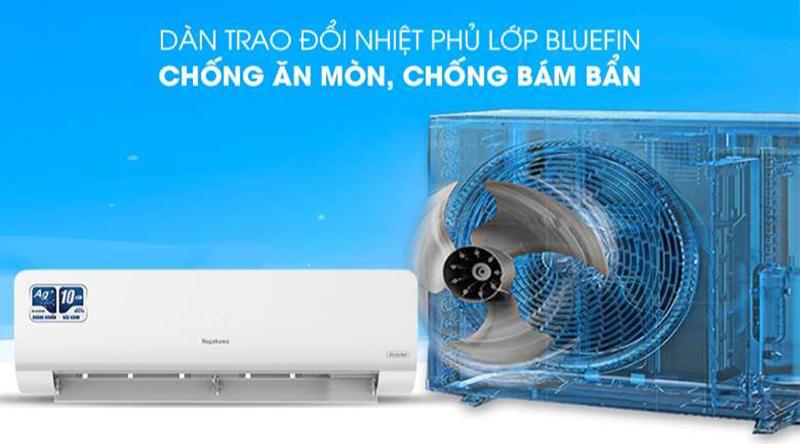 Điều hòa Nagakawa Inverter 1 chiều 24000 BTU NIS-C24R2H10 Dàn trao đổi nhiệt mạ xanh BlueFin chống oxy hóa, bảo vệ điều hòa