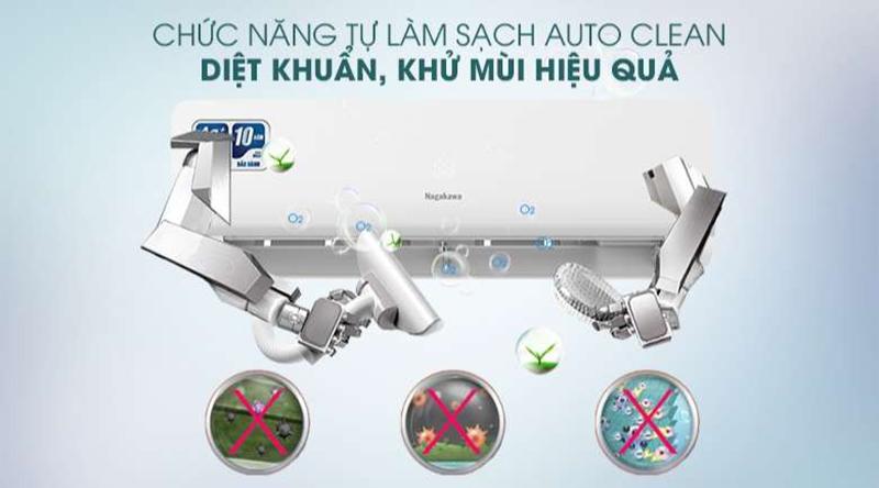Điều hòa Nagakawa Inverter 1 chiều 24000 BTU NIS-C24R2H10 Chức năng tự làm sạch Auto Clean diệt khuẩn, khử mùi hiệu quả